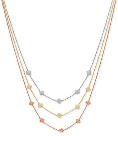 Tri-Tone Decorative Triple Necklace in 14k Rose, White and Gold, Made in Italy