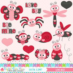 Love Bugs Valentine Clipart - this set is perfect for all of your Valentine's Day projects.