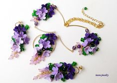 Ombre Jewelry, Flower Necklace, Hoop Flower Earrings, Lavender Purple,Spring Jewelry, Statement Necklace, Ombre Jewelry Set, Wedding Jewelry