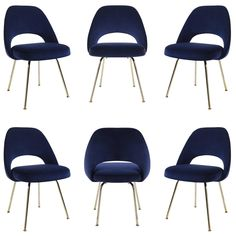30f35f7e9cd8 Saarinen Executive Armless Chairs In Navy Velvet