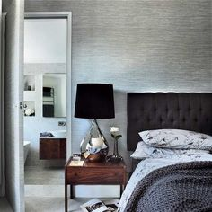 bedroom & grey wallpaper via housetohome.co.uk