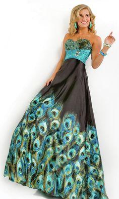 peacock print dress | Long Strapless Peacock Print Dress | Peacock