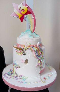 Unicorn and rainbows Baby Cakes, Baby Shower Cakes, Girl Cakes, Cupcake Cakes, Bolo My Little Pony, Beautiful Cakes, Amazing Cakes, Lily Cake, Creative Cakes