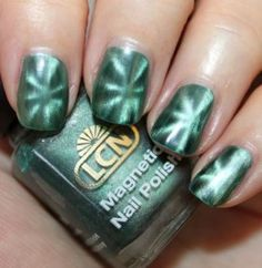 """magnetic nail polish """"the iron powder in the formulation gravitates toward the magnet forming the pattern"""""""