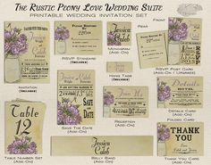 Mason Jar Wedding Invitation Set - Printable Vintage Shabby Chic Rustic Wedding Invitation w/ Romantic Purple Peonies -Spring & Summer-DIY by X3designs Table numbers, save the dates, belly bands, thank you cards