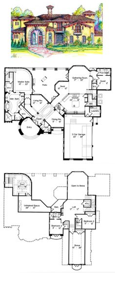 Charming Italian House Plan 64666 | Total Living Area: 3908 Sq Ft, 4 Bedrooms U0026 Ideas