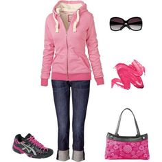 Spring fashion with Cropped pants, hoodie and tennis shoes. Pink Skirt purse from Thirty-One  With purchase of $31 in April get this bag for just $22.50 www.mythirtyone.com/dianecaudill