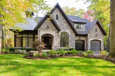 25 Beautiful Stone House Design Ideas on A Budget - Building & Architecture - Design Exterior, Exterior House Colors, Modern Exterior, Modern Garage, Garage Exterior, Wall Exterior, Siding Colors, Exterior Windows, Tudor House Exterior