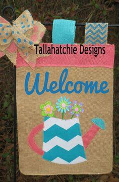Spring Burlap Garden Flag Welcome Garden by TallahatchieDesigns