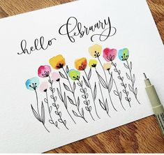 Easy Watercolor Flowers Step by Step Tutorial. Easy Watercolor Flowers Step by Step Tutorial Great little watercolor project for beginners with helpful Watercolor Cards, Watercolor And Ink, Watercolor Flowers, Watercolor Paintings, Watercolors, Calligraphy Watercolor, Calligraphy Cards, Doodle Drawings, Doodle Art