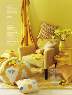 Little too much for me, even though I love yellow. Think I would keep all the accessories but with grey walls ¦ yellow room from @westelm