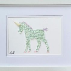 Baby Unicorn. Sea glass art
