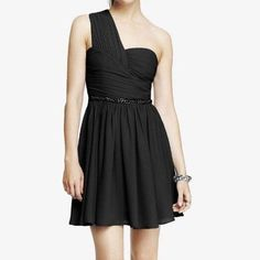 Express dress Brand new dress without tags . Beautiful one shoulder style with pleating on bodice . Fabric is polyester . Dress is lined and has zipper on the side . Dress does not come with the belt shown in pictures . Express Dresses One Shoulder