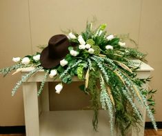 Cowboy Hat Casket Spray