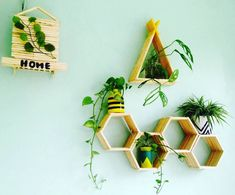Hiasan Dinding Teras Rumah Dari Stik Es Krim Berbentuk Segitiga Hexagonal