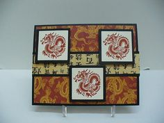 handmade card: Parker's Chinese New Year ... lots of dragons ... three inchies ... like it!
