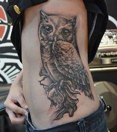 Owl Tattoo on Side - 55 Awesome Owl Tattoos  <3 <3