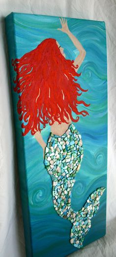 Mermaid Hand Painted Canvas With Shell Detail - Painting Hand Painted Canvas, Canvas Art, Diy Canvas, Painting Canvas, Mermaid Art, Mermaid Canvas, Mermaid Paintings, Mermaid Shell, Beach Crafts