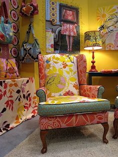 Interesting use of different fabrics on a wing back chair