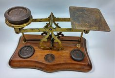 Weighing scale, Small set, wood and brass one weight missing