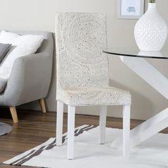 Round silla abaca blanco envejecido