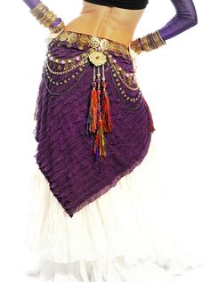 Tribal Belly Dance Belt Hip Scarf Professional by DancingTribe. Etsy.  Back view of the white and purple combo.  Love that the scarf is cut on the bias and the belt is great.