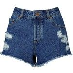 Miss Selfridge Mid Wash Distressed Short