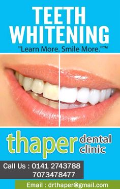 Teeth Whitening: Have a Amazing White Smile- Treat Yourself or Someone You love to Teeth #Whitening. #ThaperDentalClinic #teeth #Smile #DentalClinicJaipur #saycheese #DrRajeevThaper #DrReenaThaper  Branches : B45 Sahkar Marg and Johari Bazar 7073478477, 9345778910 www.thaperdentalclinic.com White Smile, Pain Management, Teeth Whitening, Your Smile, Clinic, Dental, Health Care, Learning, Branches