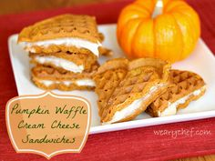 Pumpkin Waffle Cream Cheese Sandwiches   The Weary Chef #pumpkin #waffles