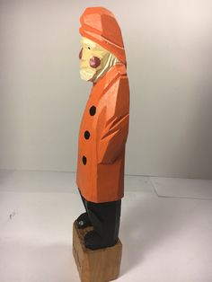 Vintage Carved Sea Captain Orange Carved Wood Figurine Orange