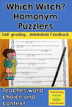 Self checking homonym puzzle worksheets for students to complete at centers or independently.  Engaging and funny, they give students (and you) immediate feedback.