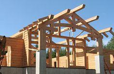 Hybrid log walls and timber framing