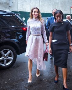 19 September 2016 - Queen Rania attends an event hosted by First Lady Michelle Obama - dress by Peter Pilotto