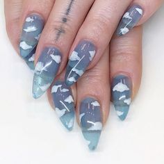 nails - Best Coffin Nail & Gel Nail Designs for Summer 2019 Nail Art Designs Cute Acrylic Nail Designs, Winter Nail Designs, Best Acrylic Nails, Trendy Nails, Cute Nails, My Nails, Polish Nails, Gel Nagel Design, Nagellack Trends