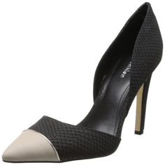 Calvin Klein Women's Belle Mt Snake/CBRTTA D'Orsay Pump,Black/Bone,5 M US. A slim opening at the arch reveals a peek of skin to this two-piece python pump.