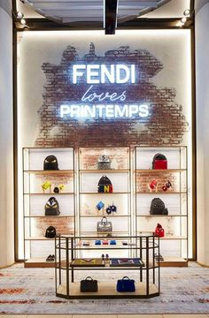 The project invades our new pop-up store at the incredible Printemps du Louvre in Paris - how cool is that? by fendi Tienda Pop-up, Store Concept, Bag Display, Display Ideas, Display Shelves, Retail Interior Design, Retail Shelving, D House, Retail Space