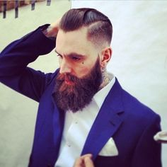 Ricki Hall looking unreal ! - full thick dark beard and mustache beards bearded man men mens' style hair hairstyle cut suit model handsome #sharpdressedman #beardsforever