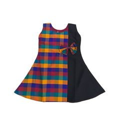 Pattu Pavadai Fancy Checked Frock for Baby Girl and Kids Adorable kids frock for this summer. Fancy and sleeveless multicolor with black combination frock for 1 year to 5 years little girls. Soft cotton lining is attached inside the frock. Kids Party Wear Dresses, Kids Dress Wear, Kids Gown, Little Girl Dresses, Dresses For Kids, Kids Wear, Girls Frock Design, Baby Dress Design, Baby Frocks Designs
