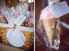 Cotton Candy in a ice cream cone. Great for an ice cream party with out the mess! Cotton Candy Cone, Cotton Candy Party, Candy Party Favors, Party Treats, Spearmint Baby, Ice Cream Party, 1st Birthday Parties, Birthday Ideas, Party Entertainment
