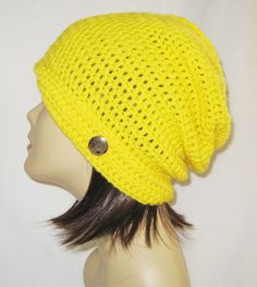 "flipped side brim slouch,beanie,hat,cap,decorated with button,made to fit teens & adults 21-23"",yellow by Jeniebugs on Etsy"