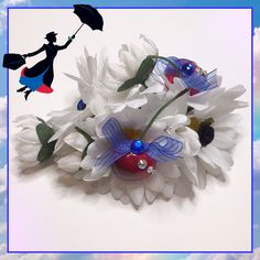 #LUVIT 😍 Mary Poppins Inspired / 1950s-styled Hair Clip for spring Dapper Day ❤️☂️💙 This hair clip features white daisies, faux cherries, crystals and blue sheer ribbon 🌼 #dapperday #marypoppins #marypoppinsstyle #flowerhairclip #hairclip #1950sfashion #1950shair #1950style #disneygirl #disneyaddict #disneyobsessed #disneyfashion #disneylover #disneystyle #disneybound #disneybounding #disneycostume #disneymagic #disney #disneyland #disneyworld #disneyfan #disneylife #disneylandparis