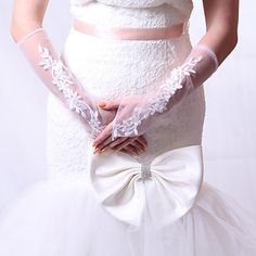Chic Lace Fingerless Elbow Length Wedding/Evening Gloves - CAD $ 9.52