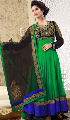 Chic Black & Green Chudidar Kameez Price: Usa Dollar $279, British UK Pound £164, Euro205, Canada CA$ 300, Indian Rs15066.