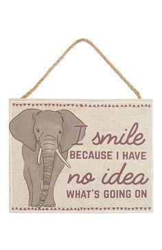 Primark - Elephant Slogan Hanging Plaque