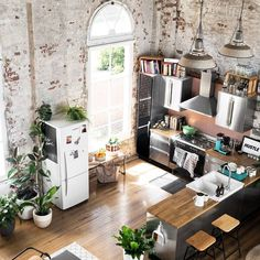 Converted warehouse makes for a stunning loft apartment. Exposed brick walls are… Converted warehouse makes for a stunning loft apartment. Exposed brick walls are soften with loads of indoor plants and timber furniture. Living Room Interior, Home Interior Design, Interior And Exterior, Interior Decorating, Decorating Ideas, Loft Apartment Decorating, Living Rooms, Decor Ideas, Kitchen Interior