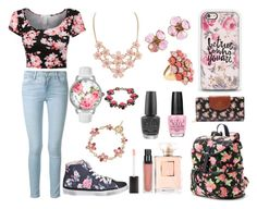 """""""Floral Life"""" by fashion-26-02 on Polyvore featuring Frame Denim, Candie's, 2Star, Casetify, Oscar de la Renta, Betsey Johnson, Chanel, OPI and Carolee"""