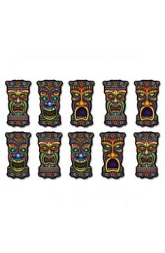 Luau, Beach, Pool and Summer Party Supplies Canada Includes 10 - mini tiki cutouts. Open A Party, Tiki Man, Luau Party Supplies, Tropical Party Decorations, Tiki Totem, Hawaiian Luau Party, Party Supply Store, Thing 1, Party Accessories