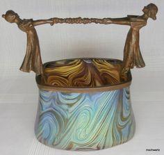 Antique Art Nouveau Loetz Paper Weight Iridescent Glass Bronze Vintage 1013 W $2675.