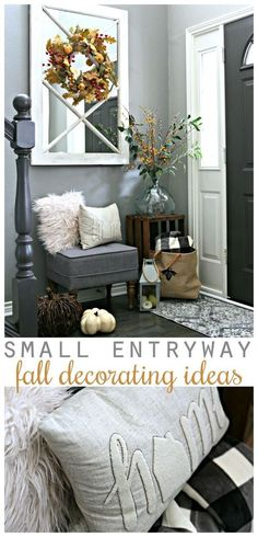 Small Entryway Decorating Ideas Small Entryway Decorating Ideas for fall using budget items. Create a stylish foyer with this small entryway bench and many other creative items. Small Entryway Bench, Entryway Ideas, Hallway Ideas, Small Bench, Entryway Furniture, Furniture Ideas, Hallway Decorating, Decorating Ideas, Decor Ideas
