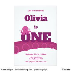 Pink Octopus | Birthday Party Invitation